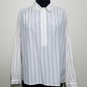 Moda Intl Long Sleeve Vertical Stripe Silk Cotton
